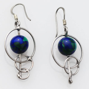 Azurite Earrings set in Circles - A stone of Insight & Vision. Set in playful circles.