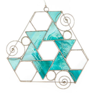 Glass Creations; Triple Spiral Glass Star. Aqua & clear glass with 3 Spirals, 3 glass pebbles, 3 clear glass Hexagrams; symbol of Universal Wisdom