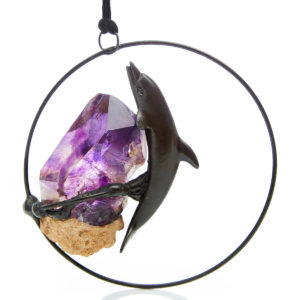 Hanging Creations; Dolphin holding the Brandberg Crystal. Dolphin swimming through the circle of time.Holding the Powerful Brandberg Crystal, wisdom