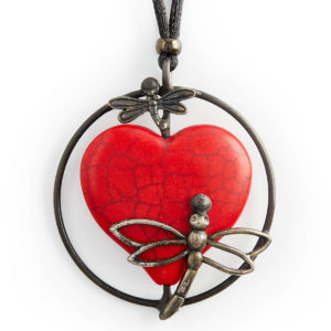 Howlite Red Heart with Dragonflies. The Heart is a symbol of love, joy, compassion & affection. The lightness & fun Dragonflies brings feelings of compassion & affection to all.