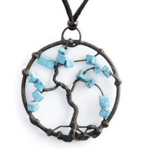 Turquoise is the stone of the Shaman. Holding the wisdom of connection, above & below. Branches stretch up & roots hold the Earth energy keeping us grounded.
