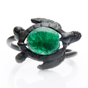 Green Quartz Turtle Ring - Turtle represents Inner Wisdom. Green Quartz connects one to the heart so we can feel supported & balanced.