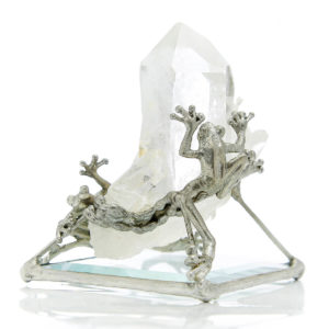 Playful Frogs on Crystal 2 Frogs playing hide & seek around this magnificent clear Quartz Crystal. Frogs bring about purification & transformation. The powerful Crystal amplifies anything you program it for. Let this be a fun Sacred tool for manifestation.