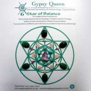 Gypsy Queen - This Sacred Geometry Crystal Grid - 6 Star of BALANCE. Will assist us to keep focused on Harmony & Balance. Feeling content & Connected. Living in the now, in Joy.